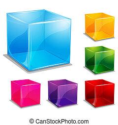 vecteur, coloré, fond, cubique