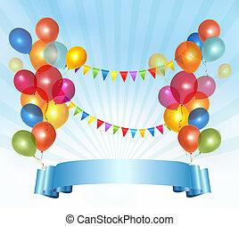 vecteur, coloré, illustration, anniversaire, fond, balloons., heureux