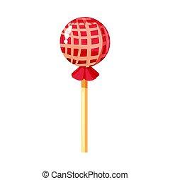 vecteur, coloré, illustration, bonbons, doux, isolé, sweet., caramel., packaging., couleur, clair, crosse, nourriture, dessert, icône, dessin animé, sucre, sucette, rond, style