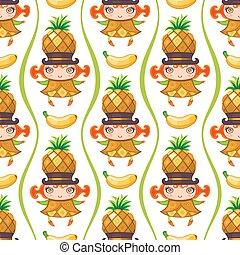 vecteur, coloré, modèle, seamless, girl., fruit, fond, ananas