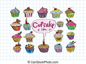 vecteur, coloré, petits gâteaux, délicieux