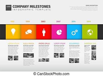 vecteur, coloré, timeline, infographic, gabarit, rapport