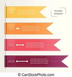 vecteur, coloré, timeline, infographic, gabarit, ribbons.