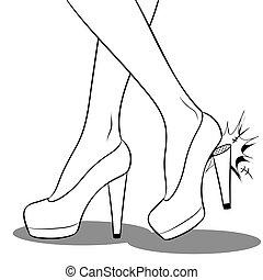 vecteur, coloration, chaussures, elle, femme, talon, fauché...