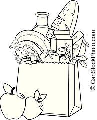 vecteur, coloration, groceries., noir, sac, page blanc