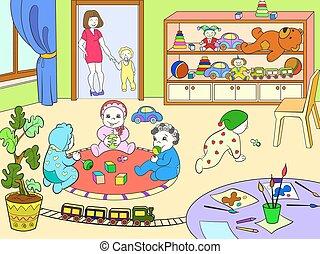 vecteur, coloration, illustration, dessin animé, jardin enfants, livre, enfants