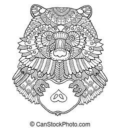 vecteur, coloration, illustration, raton laveur, livre