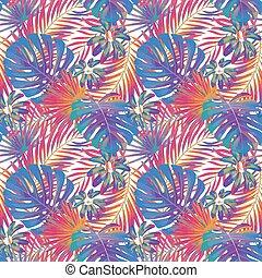 vecteur, colors., papier peint, paume, floral, feuilles, ...