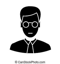 vecteur, commis, fond, lunettes, icône, isolé, signe, illustration