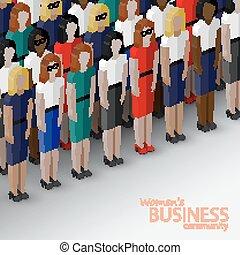 vecteur, community., femmes, 3d, isométrique, illustration affaires