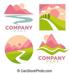 vecteur, compagnie, icônes, paysage, nature