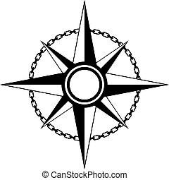 vecteur, compas, vendange, icône