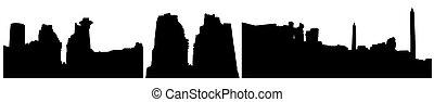 vecteur, complexe, bâtiment, temple, illustration, silhouettes, (ruins), karnak, luxor, (egypt).