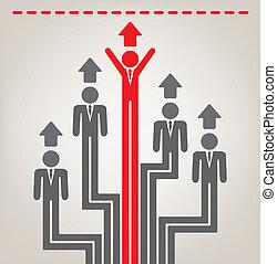 vecteur, concept abstrait, concurrence, business
