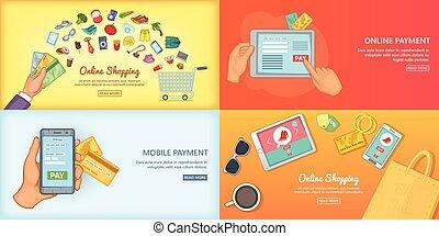 vecteur, concept, achats, affiche, illustration, ensemble, ligne, bannière