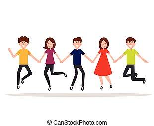 vecteur, concept, arrière-plan., sauter, caractère, blanc, style., happy., gens, plat, groupe, conception, illustration., amitié