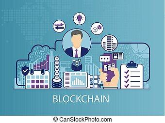 vecteur, concept, blockchain, affaires illustration
