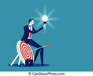 vecteur, concept, business, concentré, homme affaires, illustration., success.