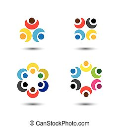 vecteur, concept, coloré, école, gens, -, ensemble, icônes, cercle