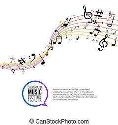 vecteur, concept, coloré, résumé, isolé, arrière-plan., lines., musique note, blanc, musical