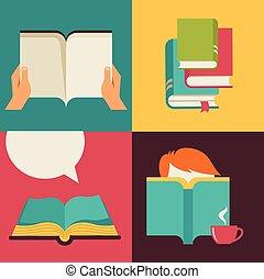 vecteur, concept, conception, livre, lecture