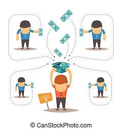 vecteur, concept, crowdfunding