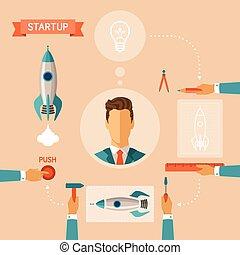 vecteur, concept, démarrage, business
