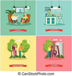 vecteur, concept, ensemble, famille, femme foyer, bannières, posters.