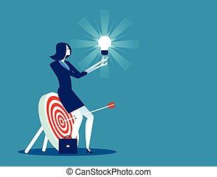 vecteur, concept, femme affaires, business, concentré, illustration., success.