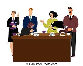 vecteur, concept, femme affaires, réunion, négociations, homme