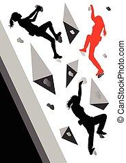 vecteur, concept, gagnant, femme, fond, grimpeur