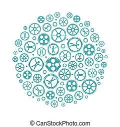 vecteur, concept, gestion réseau, social