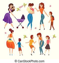 vecteur, concept, gosses, mères, ensemble, illustration, avoir, parenting, bon, maternité, temps, leur