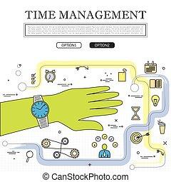 vecteur, concept, graphique, gestion, ligne temps, dessin