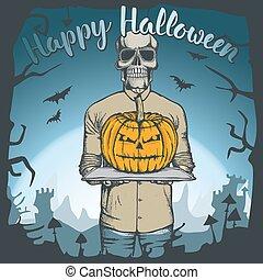 vecteur, concept, halloween, illustration, crâne