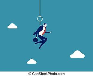 vecteur, concept, homme affaires, pendu, business, hook., illustration.