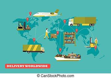 vecteur, concept, illustration., bateaux, camions, air, livraison, ensemble, logistique, transport