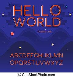 vecteur, concept, lettres, cosmique, -, espace, alphabet latin