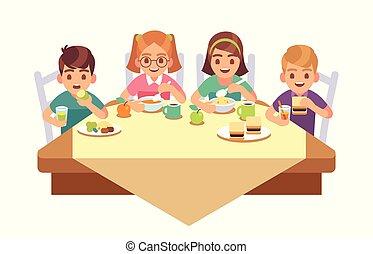 vecteur, concept, manger, restaurant, nourriture, jeûne, enfants, dîner, dîner, gosses, ensemble., déjeuner, enfant, petit déjeuner, café, amis, manger, dessin animé, heureux
