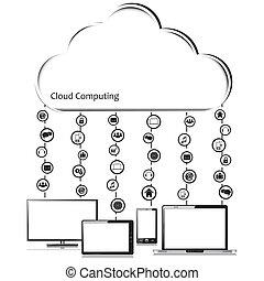 vecteur, concept, nuage, calculer