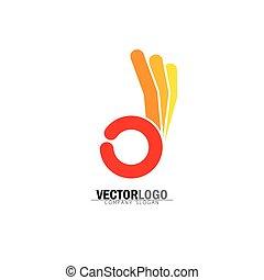 vecteur, concept, ok, symbole, -, main, orange., humain, approbation, ou, icône