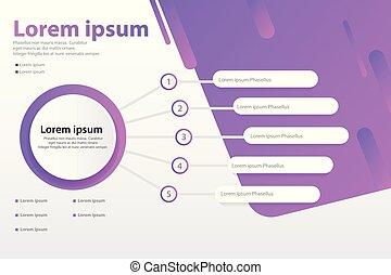 vecteur, concept, option, infographic, 5, gabarit, bannière