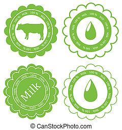 vecteur, concept, organique, ferme, étiquette, écologie, fond, animaux, lait, marché