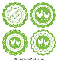 vecteur, concept, organique, viande, ferme, étiquette, écologie, fond, animaux, poulet, marché