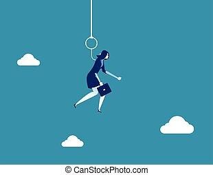 vecteur, concept, pendu, femme affaires, business, hook., illustration.