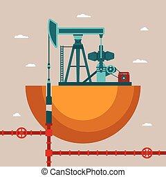 vecteur, concept, puits, huile