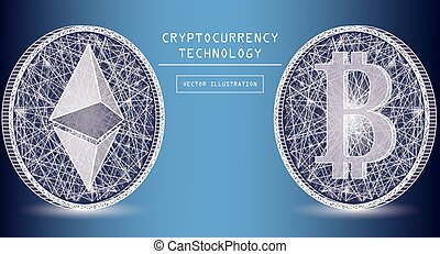 vecteur, concept, réseau, icônes, system., pièces, blockchain, crypto, bitcoin, signe, symbols., numérique, pair, paiement, ethereum