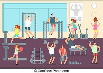 vecteur, concept, séance entraînement, sports intérieur, gym., femme, divers, fitness, exercices, homme
