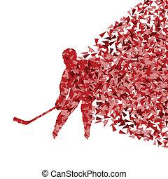 vecteur, concept, silhouette, affiche, résumé, triangulaire, glace, joueur, fait, hockey, fond, fragments, sport, exploasion