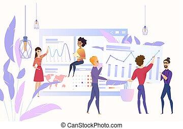 vecteur, concept, stratégie commerciale, planification, équipe